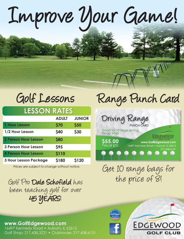 Flyer with information about lessons at Edgewood Golf Club